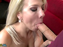busty blonde milf rides a huge cock