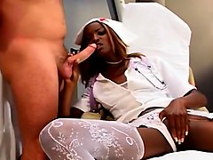 Horny Chocolate Nurse Rubs Her Wet Pink Fuck Hole