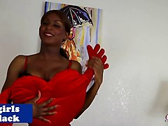 black busty tgirl strips and masturbates solo