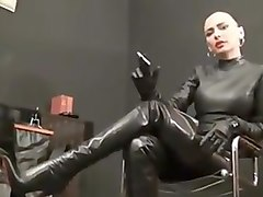 Leather Domme smoking
