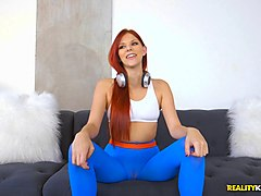 redhead in yoga pants lets the bald dude get deep inside her slit