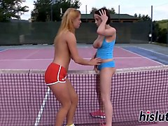 two lesbians fuck on the tennis court