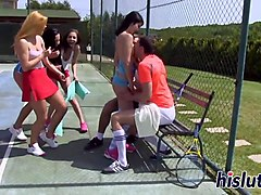 kinky orgy session on a tennis court