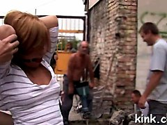 perverted slave gets tortured in public where everyone can see