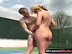 tennis teacher gets ass fucked with a strap on