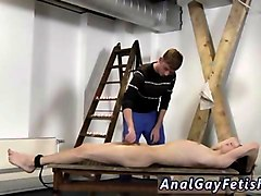 nasty little slave receives a handjob from his gay master