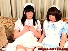 Asian costume shemales analfucking in twosome