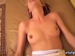 cute white girlfriend in sexy lacy panties fucks on pov video