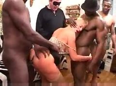French Busty Blonde Mature Gangbang