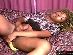black tranny in nylon stockings cumshots with banana in anal