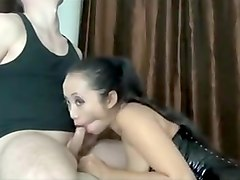 Sexy busty asian bitch sucks big hard cock and and enjoys hard fuck