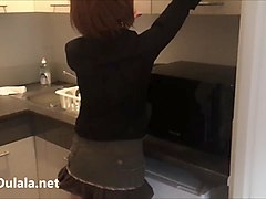 French Maid DownBlouse and Upskirt no Panties