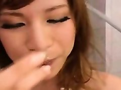 wild japanese shemale puts her lovely lips to work on two h