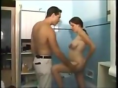 Pregnant anal sex in the shower