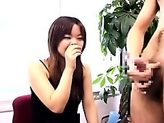 delightful oriental babes watching a guy stroking his throb