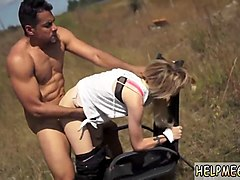busty blonde teen gets tied up and fucked roughly in the middle of nowhere