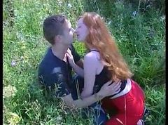 Lusty Russian Redhead Gets Boinked in Green Pastures