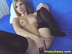 sweet cute blonde in stockings solo