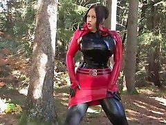 Busty Halloween Beauty - Outdoor Blowjob Handjob with Latex Gloves - Cum on my Gloves