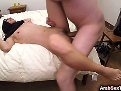 young arab arab spreads legs and takes big dick in her shaved pussy