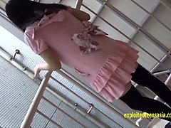 petite jav teen strips in photo booth and outside then roped and labia spread very cute