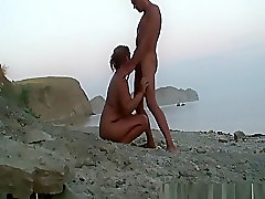 Chubby nudist blows cock at beach