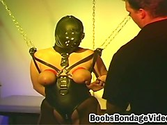 leather babe tit torture and bondage