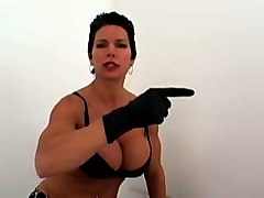 amateur short haired busty milf acts like a domme while wearing gloves