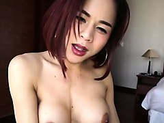sexy redhead asian ladyboy gets barebacked in a hotel