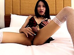 young ladyboy with a big dick gives head and ass fucked