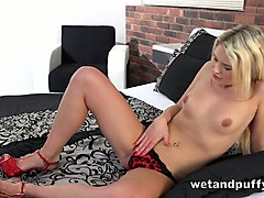 this dirty and hot minx loves pumping her tits and she loves fingering her twat