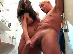 Handjob in Bathroom