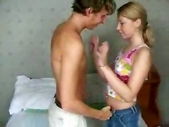 Tight Russian Teen Fucks Two Cocks