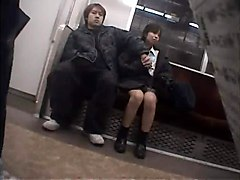 Japanese Girl Public Nuisance Of Mature Train