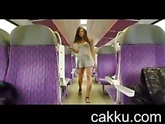 Beautiful Girl On The Train Opens Up Her Skirt