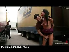 Bound Babe Toyed And Mouth Fucked In The Parking