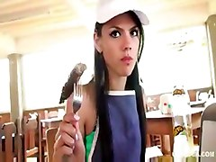 Claudia Castro A Helper In A Restaurant Gets Fucked Hard By One Of The Customers
